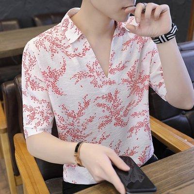 夏季短袖T恤男正韓寬松潮流V領半袖個性時尚潮牌翻領印花體恤上衣