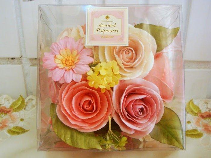 ~蘇菲亞精品傢飾~德國進口花漾玫瑰香氛中款方型禮盒/乾燥香花/特價促銷