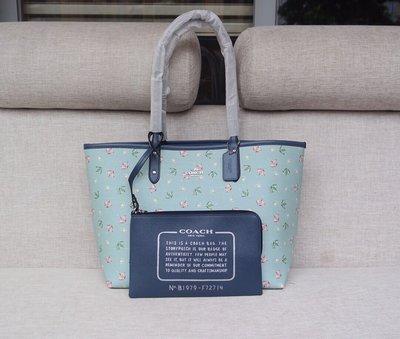 小皮美國正品代購 COACH 72714 新款女士購物袋 雨傘印花圖案單肩包 子母包 雙面可用 大容量 超實用 附購證