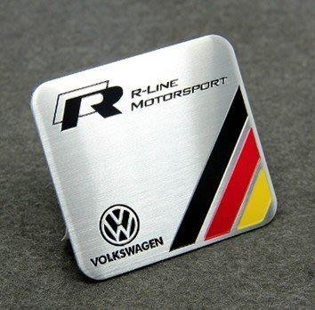 Volkswagen 福斯車系 鋁合金拉絲金屬車貼 尾門貼 裝飾貼 立體方型款