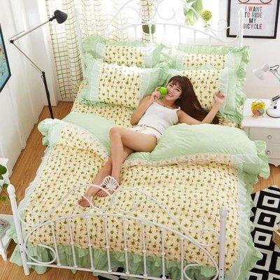床包組 韓版床裙式三四件套公主風床單帶蕾絲花邊小清新被套