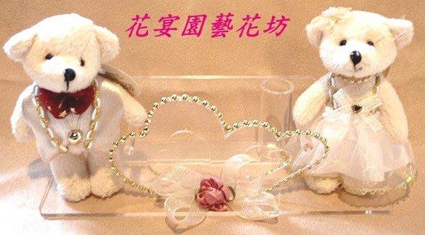 【花宴】*紅領結婚紗熊謝卡座*~婚禮~訂婚~珍藏~甜蜜款~限量手工商品