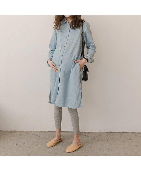 孕婦 孕婦裝 孕婦上衣 春秋韓版簡約舒適牛仔長版上衣 孕婦襯衫SY19030305