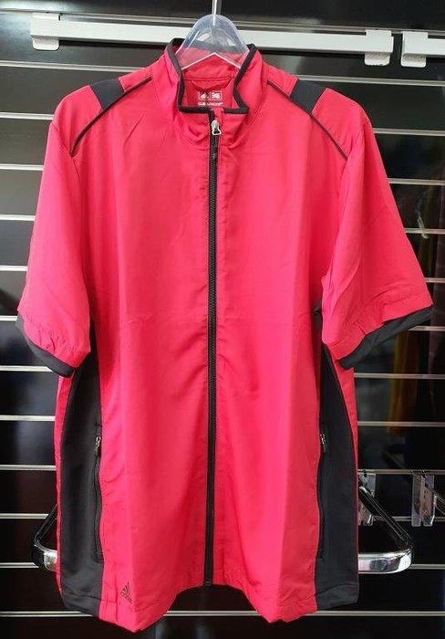 (易達高爾夫) 全新原廠ADIDAS Z88663 紅/ 黑色 男半袖防風夾克