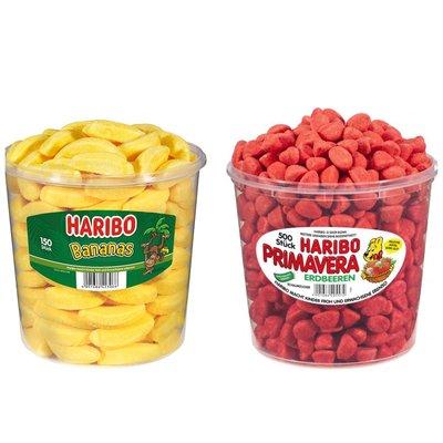 ∷預購∷德國原裝 Haribo Banana Gum Candy Mix 香蕉軟糖 /PRIMAVERA草莓軟糖 桶裝