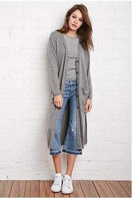 美國Forever 21女裝Longline Heathered Cardigan S號淺灰色時尚瀟灑長版毛衣含在台