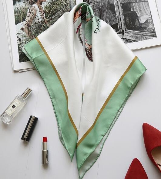 (輕舞飛揚)斜紋真絲小方巾女綠色可愛單車女孩桑蠶絲70公分絲巾披肩小領巾