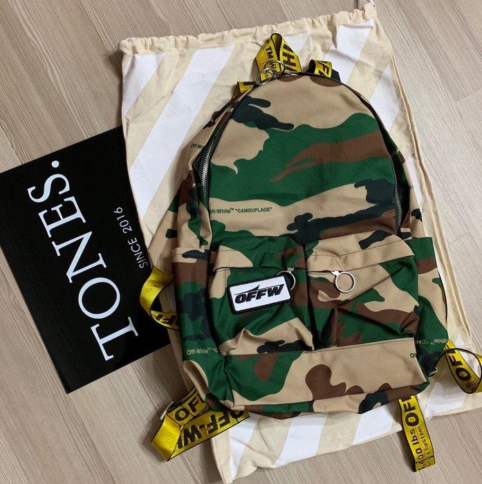 【TONES.】OFF-WHITE 19SS 拼接迷彩 工業皮帶 後背包 新品上架