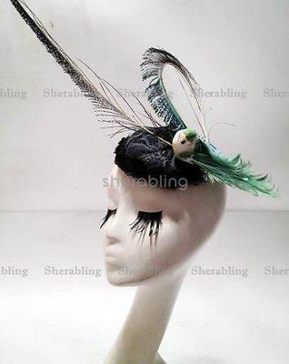 [PROP-H_00433] 歐美復古羊毛禮帽 孔雀綠 小鳥 羽毛 小氈帽
