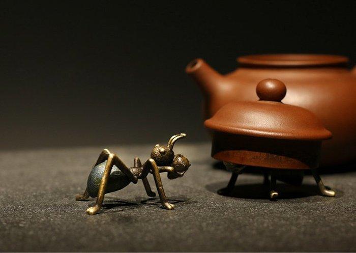 茶寵擺件 創意迷妳純銅螞蟻 紫砂鐵壺蓋置 功夫茶玩配件功夫茶寵