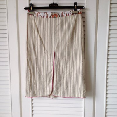 ETRO 變形蟲淺米細條紋窄裙