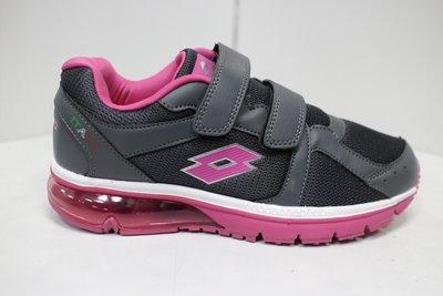 快速出貨 LOTTO 女鞋 大氣墊 魔鬼氈 慢跑鞋 黏扣帶 運動鞋 耐磨 寬楦 灰粉 LT9AWR0878