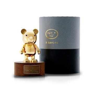 agnes b. 金色金屬小熊公仔 含木頭底座原價2380