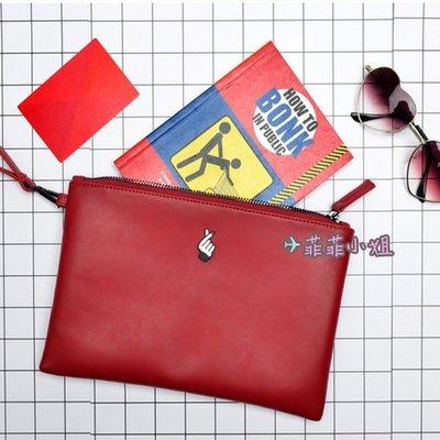 KIITOS 原創 皮革手拿包 品質保證 創意收納包 愛心手勢 咖啡杯 滑板 沙發