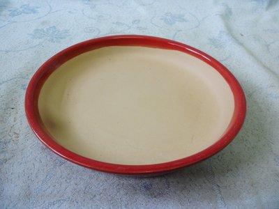 紫色小館38--------早期陶盤{紅色}圓形