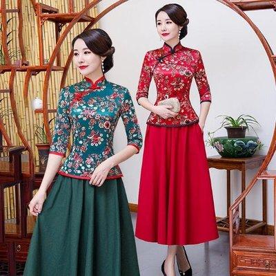 旗袍 洋裝 中袖改良旗袍 套裝裙兩件套 媽媽裝 中國風唐裝 漢服 七分袖上衣 長裙 小禮服 大尺碼M-5XL碼—莎芭