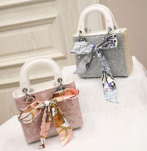 【週末女孩】訂製款絲巾亮片手提包 甜美宴會包手提包鍊條包 隨身小方包手提小包 名媛款手提包 BG210