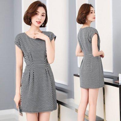 GOGO SHOP☆╭韓系 新款 顯瘦中長款收腰印花連身裙【Y2230】XL-5XL大碼顯瘦洋裝