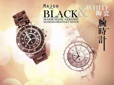 轉賣【Major made.】Mavis*瑪菲斯 CERAMIC DIAMOND BRACELET WATCH J12款