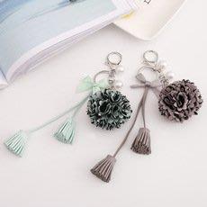 鑰匙圈配件吊飾----花球雞皮流蘇鑰匙扣
