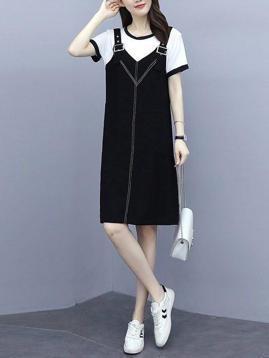 [C.M平價精品館]新品特價L~5XL/遮肉顯瘦舒適隨性雙口袋假兩件吊帶短袖洋裝  加大碼