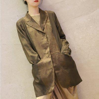 *菇涼家*晓寒自制 華裔小眾设计 植物炒染拼接提花上衣個性西装外套
