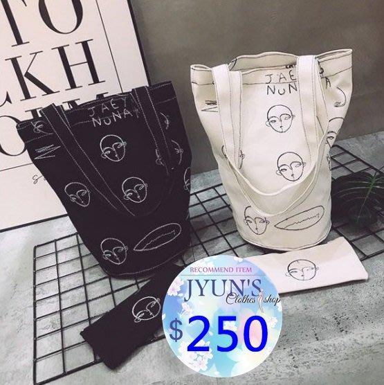 JYUN'S印花帆布包ins人臉刺繡水桶包暗黑系韓國ulzzang手提包chic搞怪形狀單肩包和尚臉包包