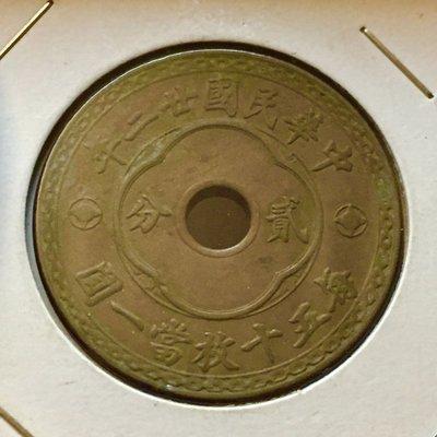 民國二十二年嘉禾中圓孔貳分銅幣品項如圖保真