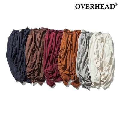 6色竹節紋針織長袖T 打底衫 薄款長T 素T 簡約百搭 基本款 OVERHEAD