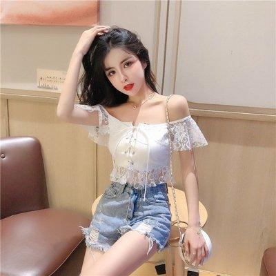 日韓女裝 洋裝 T恤 女褲 蕾絲雪紡衫女裝洋氣韓版2019夏季新款超仙一字肩收腰百搭短款上衣