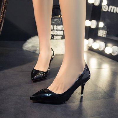安琪兒╭日系美鞋☆黑色工作鞋高跟鞋 新款秋鞋甜美系鞋 女細跟黑色尖頭中跟女鞋【S8280】細跟女鞋 淑女高跟鞋 單鞋