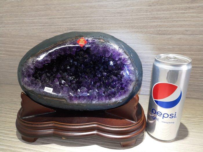 ?【168 精品】? 烏拉圭ESP 收藏級紫晶洞重5.85kg寬23cm高20cm洞深6cm高紫度洞型圓【C92】