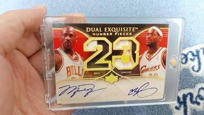 Michael Jordan + Lebron James 雙簽名卡 卡號23/23,Reprint 重製卡