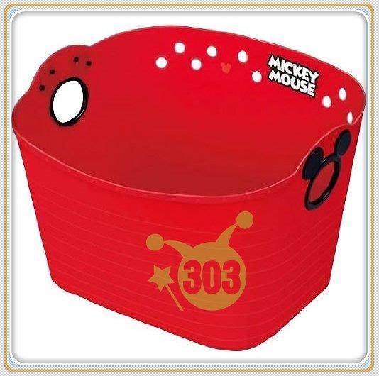 303生活雜貨館 日本製   Mickey Mouse 米奇 SQ43  收納置物籃 27 L - 紅
