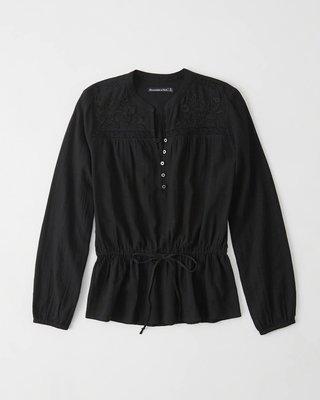 【天普小棧】A&F Abercrombie Embroidered Peasant Blouse繡花長袖棉麻襯衫黑色S號