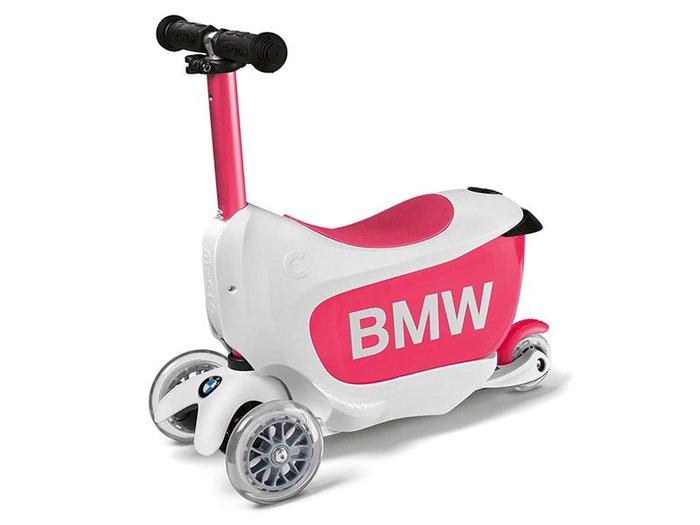 【樂駒】BMW 原廠 生活 精品 兒童 孩童 Kids Scooter 滑板車 學步車 兩用 學習 白色 桃紅