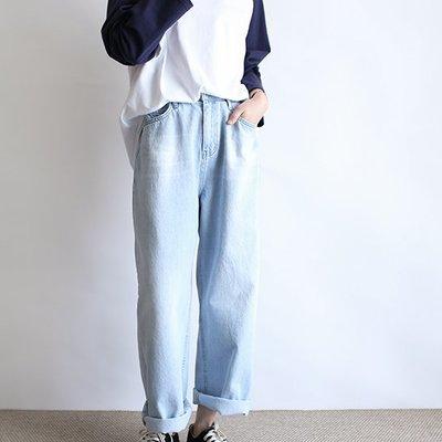 girlmonster  正韓 休閒牛仔直筒寬褲/ 腰部可調節 (S ,M 尺寸)【A0458】