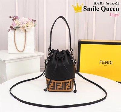 ☆Smile Queen☆-FD Mini Bucket小巧玲瓏純色經典FFlogo圖案牛皮手提包 單肩包 斜跨女包