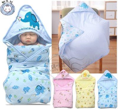 【K014】K14夾棉厚包巾 80*80cm 新生兒 三角帽 厚綿 三層棉 鋪綿 固定帶 抱被 嬰兒被 綿被 彌月媽咪家