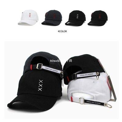 SOso炫酷帽子間韓國進口TEAMLIFE帽 XXX鴨舌帽 鐵環做舊 個性四季男女棒球帽子潮