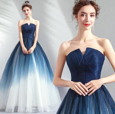 婚禮洋裝 小禮服 長裙 高貴明豔新潮靛藍色晚宴年會派對演出服 主持人禮服 婚紗 —莎芭