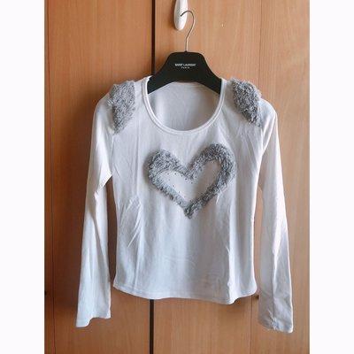 beautiful fur heart paint white blouse top shop zara forever21 asos 超靚白色毛毛暖襯衫