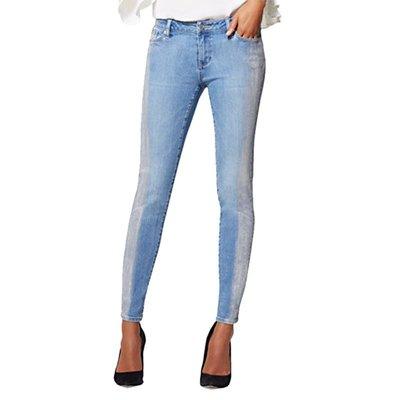 薄款淺藍色側面涂層水洗磨白彈力小腳褲女九分褲