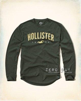 【零時差美國時尚網】HCO Hollister co.Applique Logo Graphic Tee貼布長袖T-軍綠
