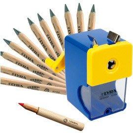[小文的家]LYRA兒童三角原木鉛筆超值組 @內容:三角原木鉛筆(12cm)12入+延長器+削鉛筆機*贈:Lyra筆筒