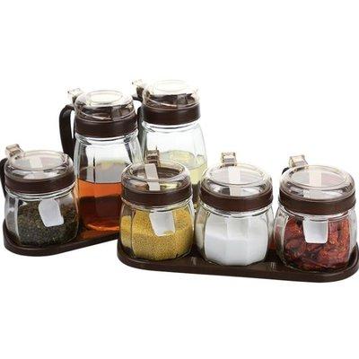 調味瓶 6個裝 廚房用品玻璃調料盒鹽罐調味罐家用佐料瓶收納盒組合裝調味瓶套裝Y-優思思