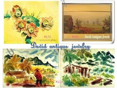 ((天堂鳥)) 西洋花卉#172夏威夷風景(雙面)#122美國古董#315水彩畫原作