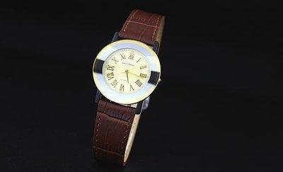 艾曼達精品~台灣品牌glad stone防水石英錶羅馬數字刻度特殊弧面錶鏡真皮製錶帶日本機心