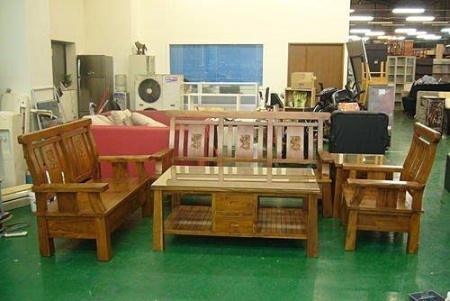 樂居二手家具 全新中古傢俱賣場 *柚木全實木巴里島風收納木製沙發*、木板組椅、木製板椅 木頭椅 客廳桌椅