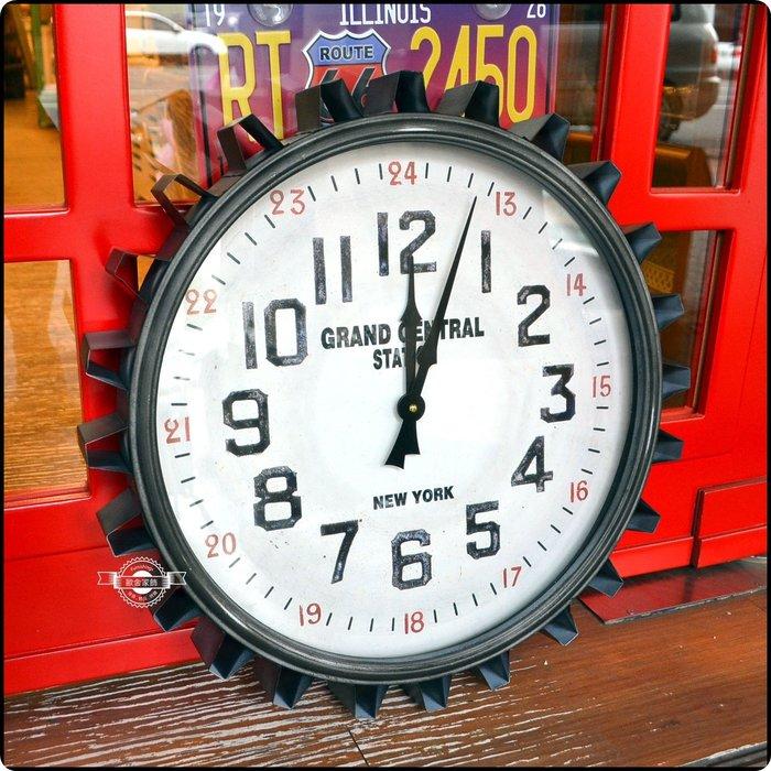鐵製工業風齒輪刷舊羅馬數字鐘 圓形時鐘壁鐘掛鐘造型鐘壁掛壁飾牆面裝飾 復古仿舊機械零件特殊個性鐘錶【【歐舍家飾】】